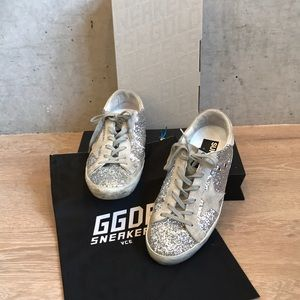Golden Goose Silver Glitter Sneakers